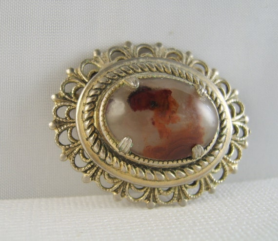 Vintage Agate Brooch Filigree Pin  RESERVED FOR RAEF