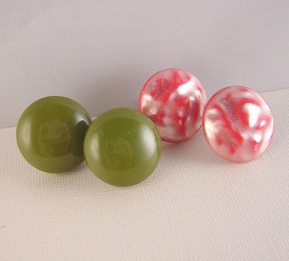 Vintage Bakelite Earrings Olive Green Red Lucite Lot