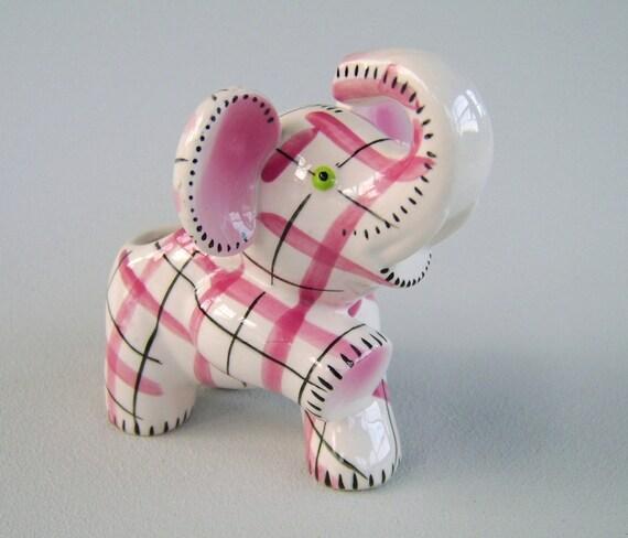 Vintage Elephant Planter Pink Plaid Ceramic