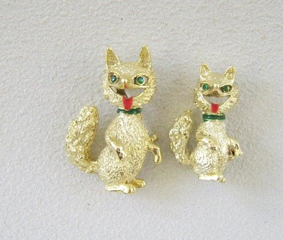 Vintage Fox Brooch Gerry's Gold Rhinestone Pair