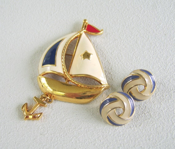 Vintage Nautical Sailboat Brooch Earrings Navy Cream Enamel