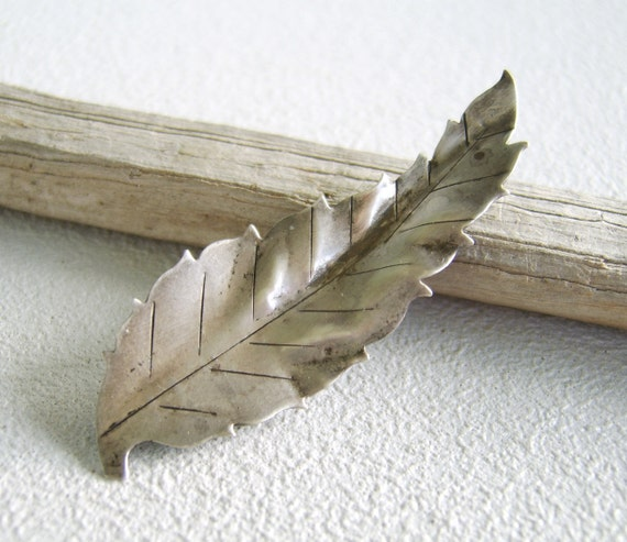 Vintage Sterling Brooch Silver Leaf by Le Gro