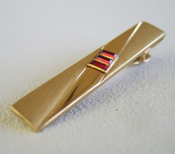 Vintage Ruby Red Rhinestone Tie Clip Anson Mens Accessory