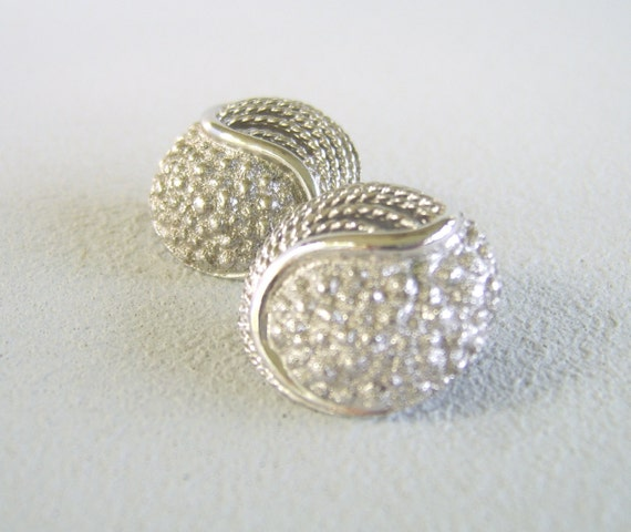 Vintage Monet Silver Earrings Textured Domes Sixties Clip On