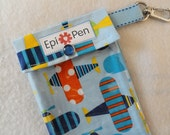 EpiPen Pouch 4x8 Holds 2 Allergy Pens w/ Clear Pocket and Clip - Ann Kelle Airplanes Organic Fabric -Readers Choice Finalist