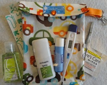 Medium Ouch Pouch with Clip Attachment First Aid Organizer for Diaper Bag Car Purse (5x7 Organic Cars Fabric) New Mom Shower Gift