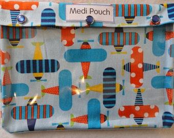 XL Medi Pouch Travel Organizer Meds Inhaler EpiPens Diabetes Meter First Aid Hospital Toiletries ( 7x9 Organic Airplanes Fabric)