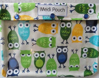 XL Medi Pouch Clear Travel Organizer for Baby Toddler First Aid Diaper Bag Nursing Supplies Toiletries Medications (7x9 Owls in Blue Fabric)