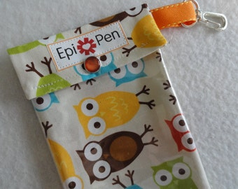 Epi Pen Pouch with Clear Pocket and Clip 4x8 Holds 2 Allergy Injector Pens -  Urban Zoologie Owls in Bermuda