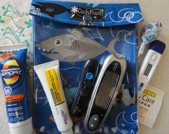 Medium Ouch Pouch Clear Front First Aid Travel Organizer Diaper Bag Purse Insert (5x7 Shark Attack Fabric ) Children Under 10 15