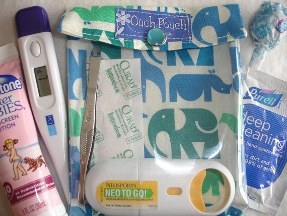 Small Ouch Pouch tm First Aid Kit For Diaper Bag Car Purse Travel ( 4x5 Animal Menagerie Fabric )