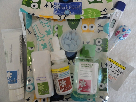 Large Ouch Pouch First Aid Travel Organization New Mom Gift ( 6x8 Owl in Blue Fabric ) Summer Vacation Toiletries