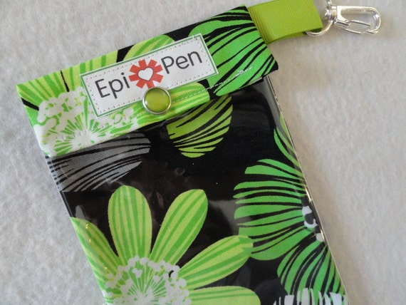Epi Pen Carrier with Clear Pocket and Clip 4x8 Holds 2 Allergy Injector Pens Black and Kiwi Floral Fabric - Readers Choice Finalist
