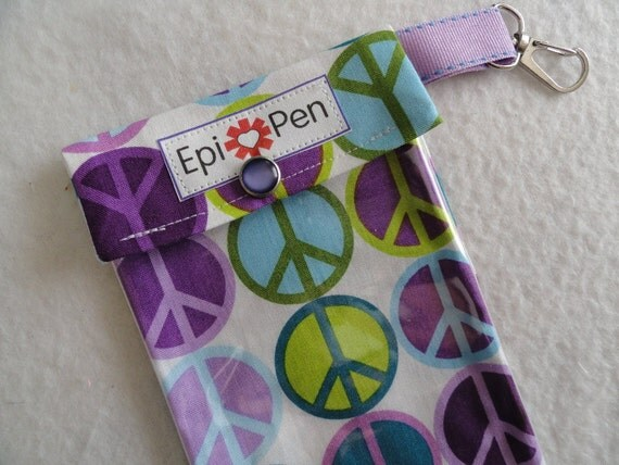EpiPen Pouch with Clip and See-Through Pocket  4x8  60's Peace Fabric - Holds 2 Allergy Pens
