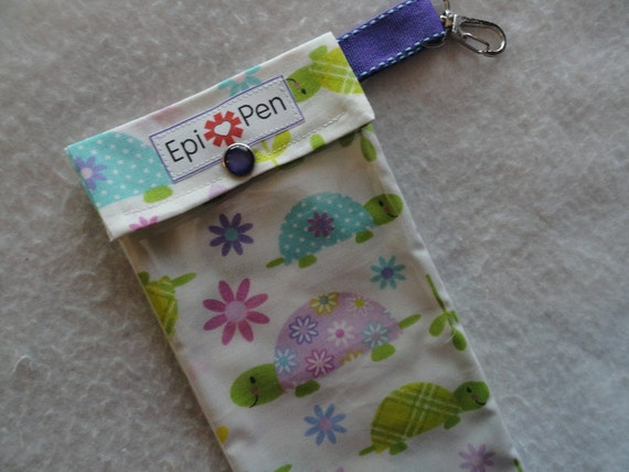 Epi Pen Carrier with Clear Pocket and Clip 4x8 Holds 2 Allergy Injectors -  Slow Poke Turtles Fabric