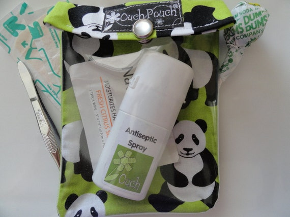 Clearance - Small Ouch Pouch Clear First Aid Travel Organizer Diaper Bag Purse Backpack Desk (4x5 Panda on Lime Fabric) Back to School