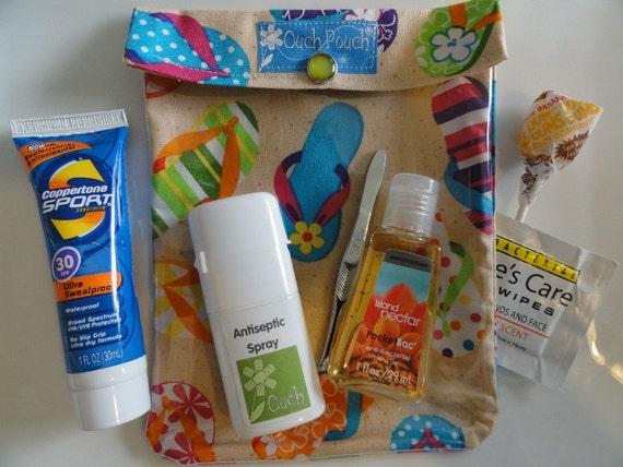 Clearance - Medium Ouch Pouch TM Clear First Aid Storage for Beach Bag Organization Purse Travel ( 5x7 Flip Flop Fabric )