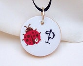 Ladybug Ladybug (Black and Red) - Personalized (Your Choice of Letter) Pendant With Ribbon Necklace