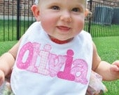 Personalized Baby Bib Appliqued in your choice of color - shown in pinks - by Tried and True Designs on Etsy - TriedAndTrueDesigns
