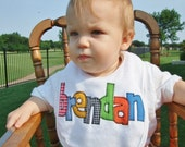 Personalized Baby Bib Appliqued in your choice of colors for baby by Tried and True Designs on Etsy