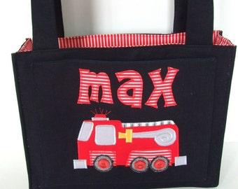 Handmade Denim Diaper Bag Personalized Firetruck - Applique -  Custom made - Baby Boy - Denim tote bag - 1st birthday - firefighter - Boy
