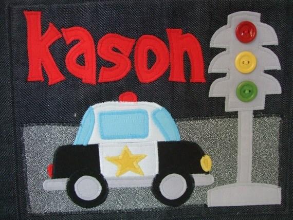 Denim Diaper Bag Custom Made  for Baby Boy - Police Car - Personalized