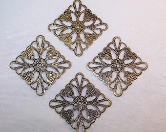 4 pcs Antiqued Brass Vintage Style Filigree Squares 24mm