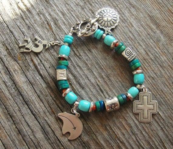 Handmade Artisan Turquoise and Silver Charm Bracelet