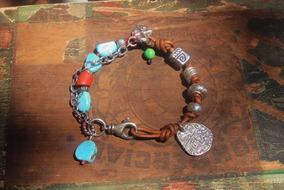 COUPON SALE Artisan Bracelet, Sleeping Beauty Turquoise, African Trade Beads, Thai Silver, Leather ,Silver Chain, Handmade Jewelry