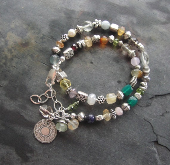 RESERVED For Vicki Artisan Jewelry, Double Strand Multiple Gemstone and Thai Silver Wrap Bracelet, Artisan Bracelet
