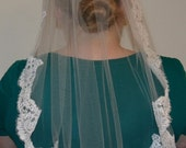Alencon lace trimmed bridal veil - RESERVED for tiffijono