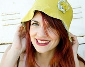 Linen Sun Hat Chartreuse and Gingham, reversible