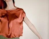 SAMPLE SALE Half Price Silk Blouse in Rust Orange