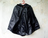 Black Rain Coat Waterproof Cape with Hood, Vintage inspired rain jacket