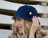 Navy Blue Sun Hat for Summer, Linen and Floral Cotton - karmologyclinic
