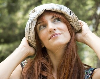 Linen Sun Hat with Newspaper fabric