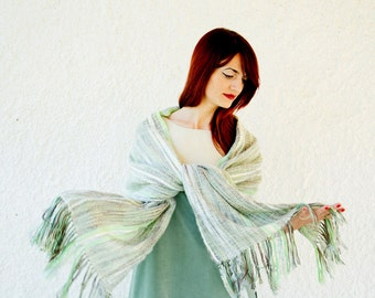 50% Off Sample Sale Handwoven Shawl in Pistachio and Mint, Bridal Long Shawl, Warm Wool Shabby Chic Shawl