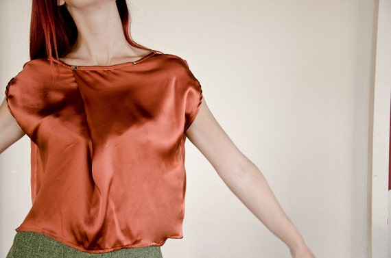 SAMPLE SALE Half Price Silk Blouse in Rust Orange