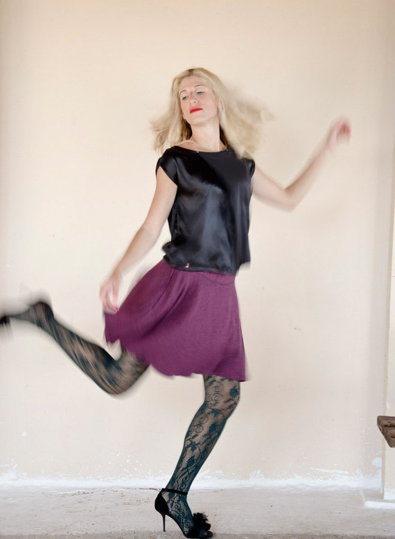 SAMPLE SALE Half Price Purple Mini Skirt, High Waisted, Flared, Handmade, Last One