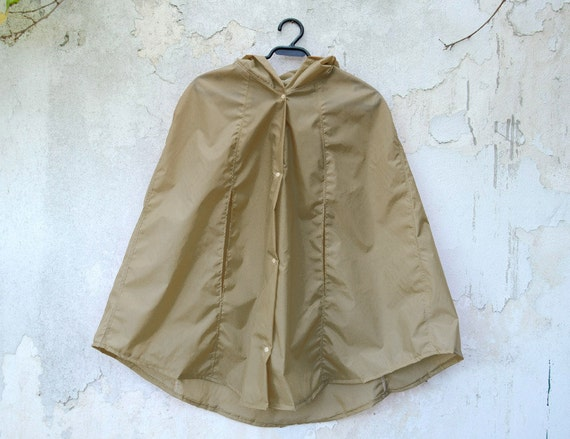 Tan Cape Hooded Raincoat Waterproof Raincape by karmologyclinic