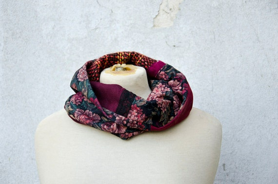 Cowl Scarf with Mixed Fabrics, Wine Red Purple Recycled