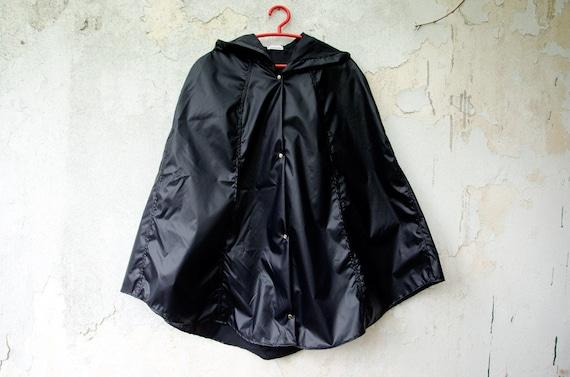 Black Rain Coat Waterproof Cape with Hood, Vintage inspired rain jacket