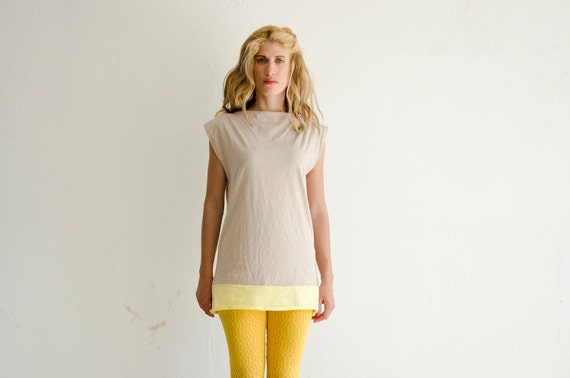 Jersey Dress or Top, Cotton Oatmeal and Yellow Summer Mini Dress Tunic, Colorblock Fashion, Customize length and Color