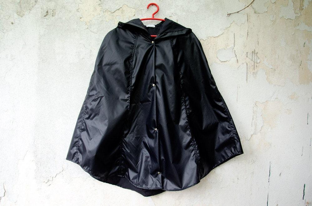 Black Rain Coat Unisex Waterproof Cape with Hood Vintage