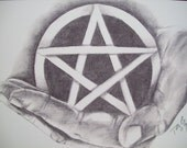 HAND HOLDING PENTACLE - PENCIL DRAWING \/ 8x10 SIGNED PRINT