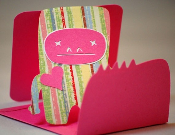 Valentines Day Card - Monster -Me Love You- Pink 2