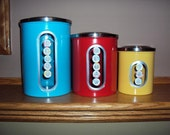 Set of 3 Canisters yellow blue red