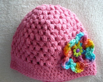 Crocheted Pink Baby Hat with Flower     READY TO SHIP     Size 6 to 12 mos