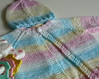 Handknit Newborn Baby Girl Set     READY TO SHIP   Size Newborn to 3 months