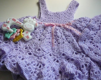 Crocheted Lilac Baby Dress     READY TO SHIP    Size Newborn to 3 months